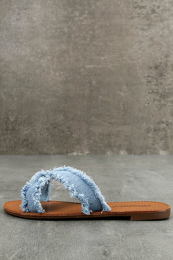 Cascara Blue Denim Slide Sandals 1