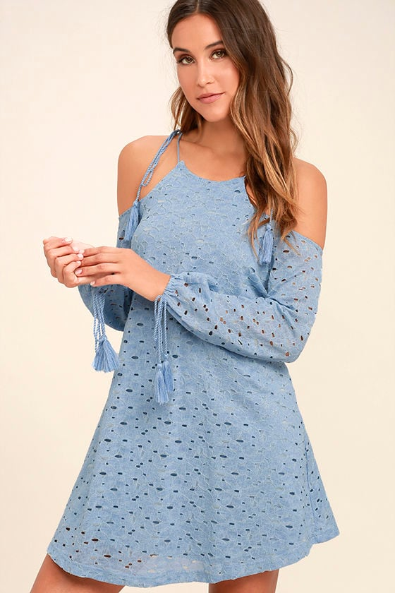 9ae4fdedf0a1 Cute Light Blue Dress - Lace Dress - Off-the-Shoulder Dress - Shift ...
