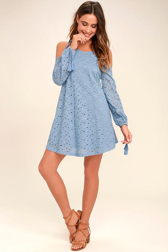 679547096fe Cute Light Blue Dress - Lace Dress - Off-the-Shoulder Dress - Shift ...