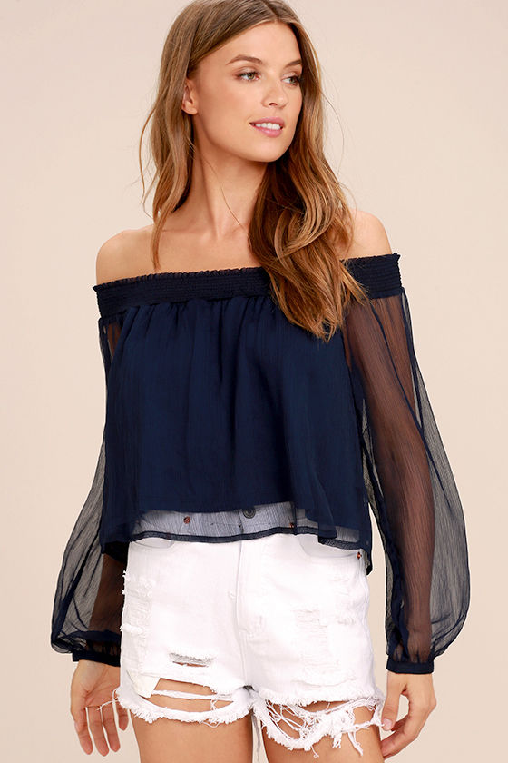 5e294e081e6d88 Cute Navy Blue Top - Crop Top - Off-the-Shoulder Top - Long Sleeve Top -   36.00