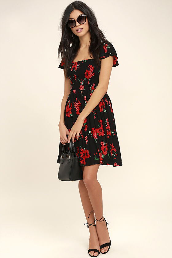 Others Follow Marabella Red and Black Floral Print Dress 2