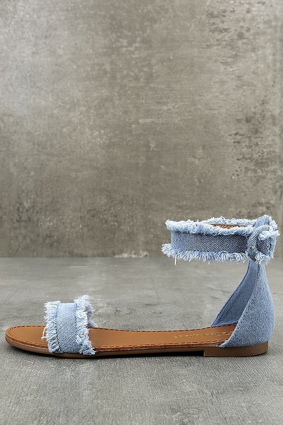 bde0a35842b0 Cool Blue Denim Sandals - Flat Sandals - Ankle Strap Sandals -  21.00