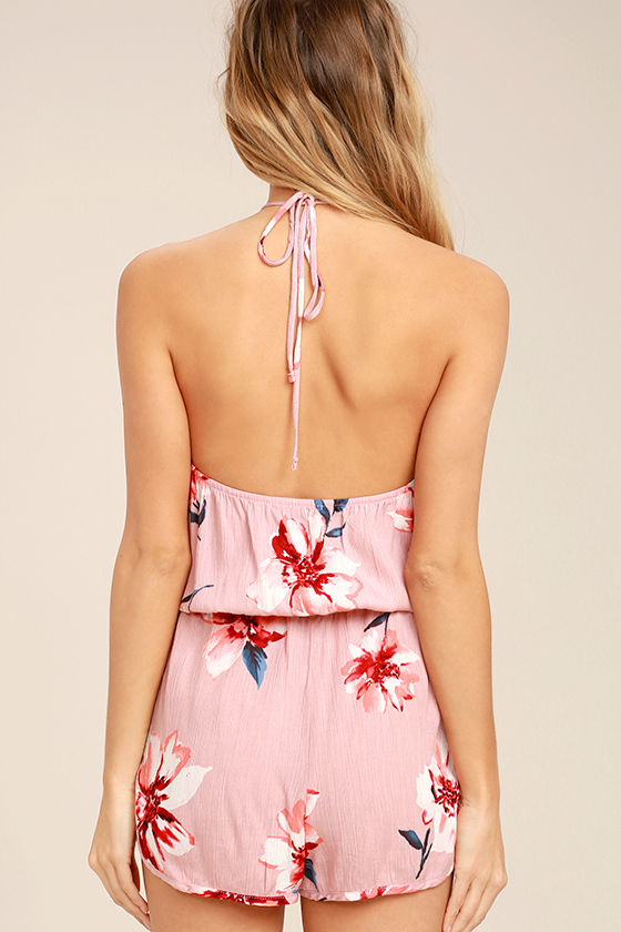 Ready to Bloom Blush Pink Floral Print Halter Romper 4