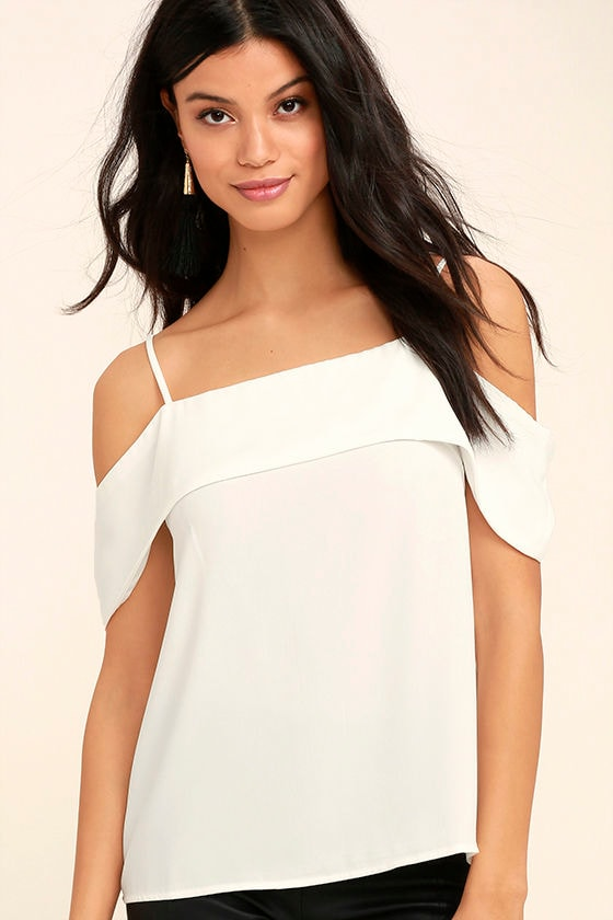 Play a Tune White Off-the-Shoulder Top 1