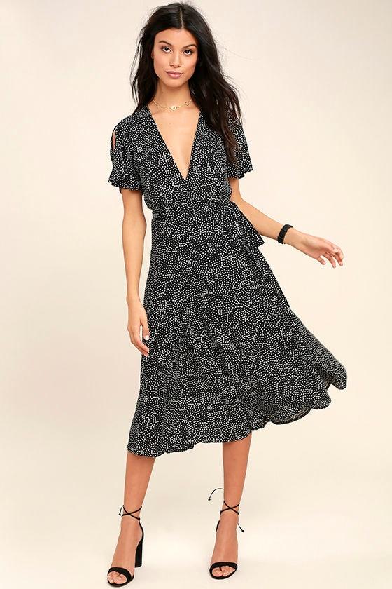 Cute Black Polka Dot Dress - Wrap Dress - Midi Dress - $84.00