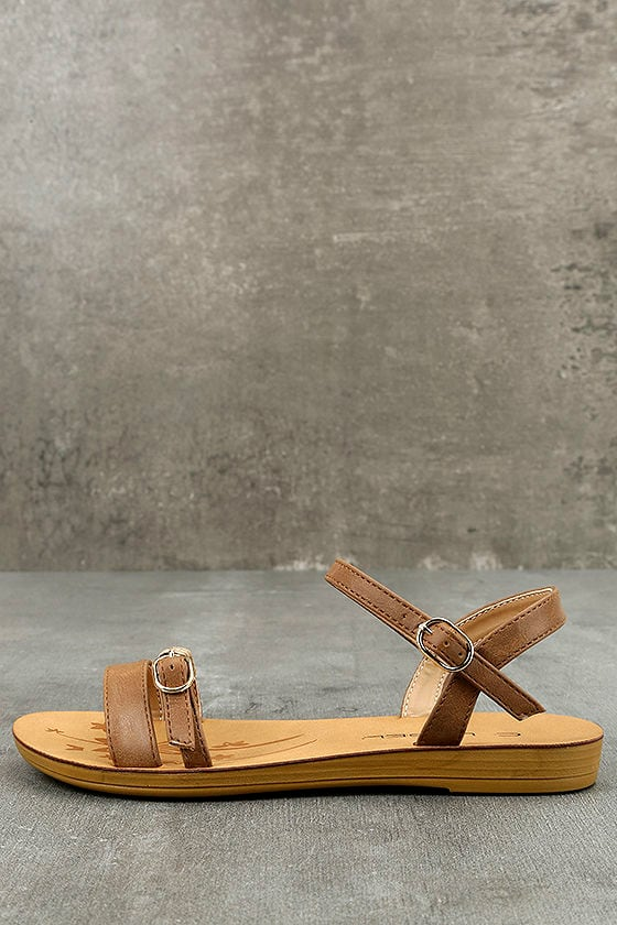 5c3a125f7 Cute Brown Flat Wedge Sandals - Flat Sandals - Brown Strappy Sandals -  $23.00