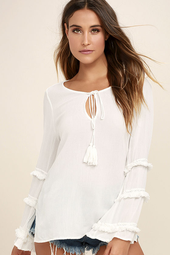 White Crow Touch the Sky White Long Sleeve Top 1