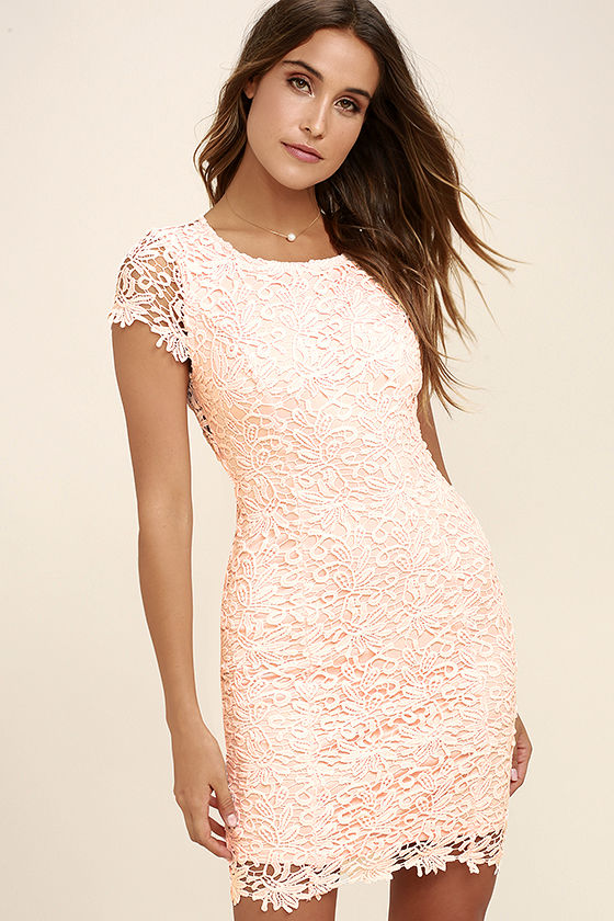 Cute Backless Dress - Blush Dress - Lace Dress - $58.00