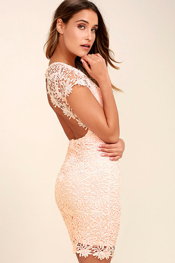 Hidden Talent Backless Blush Lace Dress 1