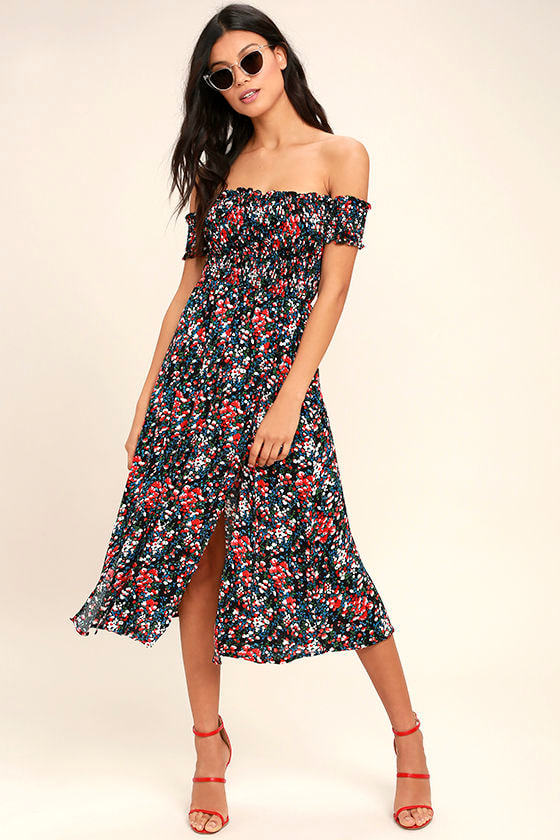 View from the Meadow Black Floral Print Off-the-Shoulder Dress 1