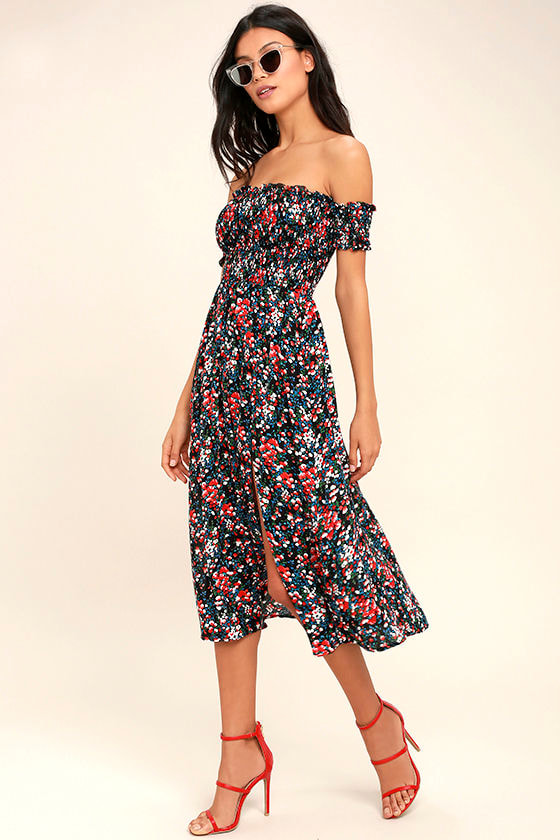 b93ac5640b View from the Meadow Black Floral Print Off-the-Shoulder Dress