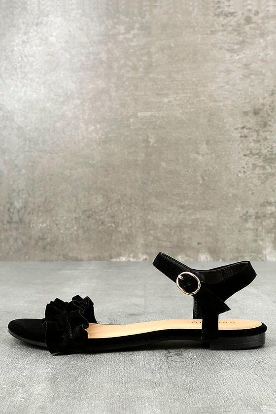 Fabienne Black Velvet Flat Sandals 1