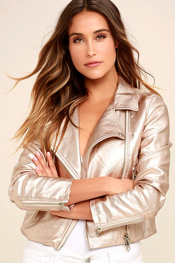 One and Stun Rose Gold Vegan Leather Moto Jacket 1