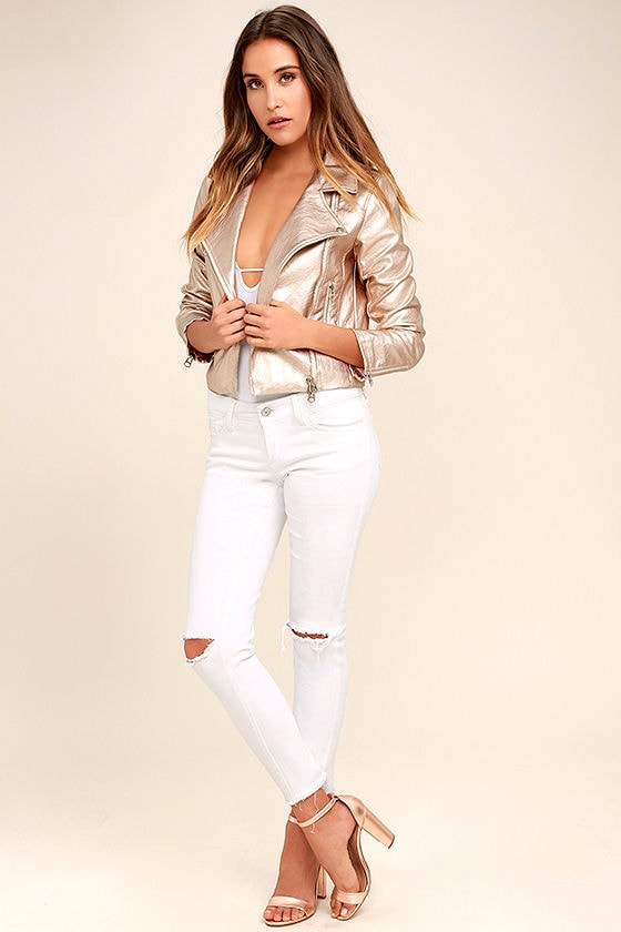 One and Stun Rose Gold Vegan Leather Moto Jacket 2