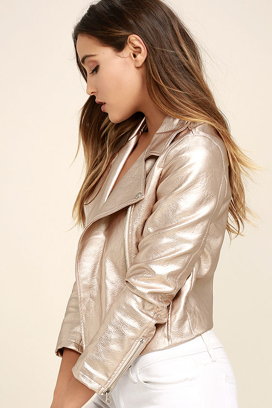 One and Stun Rose Gold Vegan Leather Moto Jacket 3