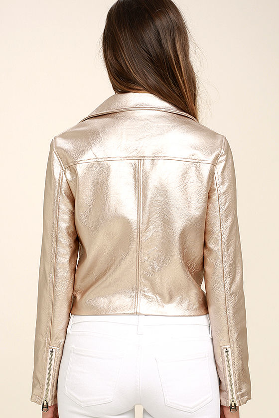 One and Stun Rose Gold Vegan Leather Moto Jacket 4