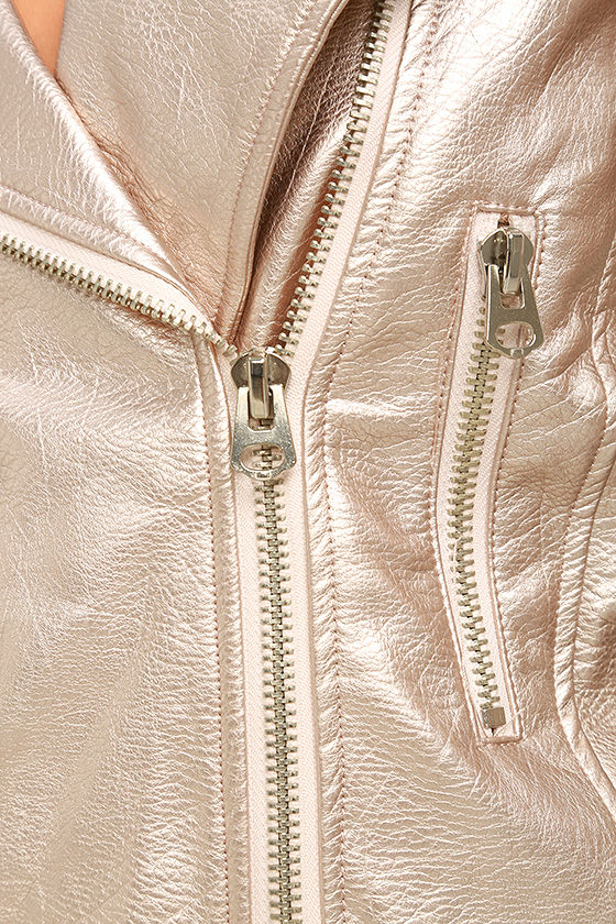 One and Stun Rose Gold Vegan Leather Moto Jacket 6