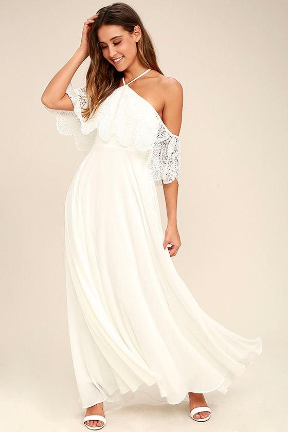 Lovely White Dress - Halter Dress - Maxi Dress - Lace Dress