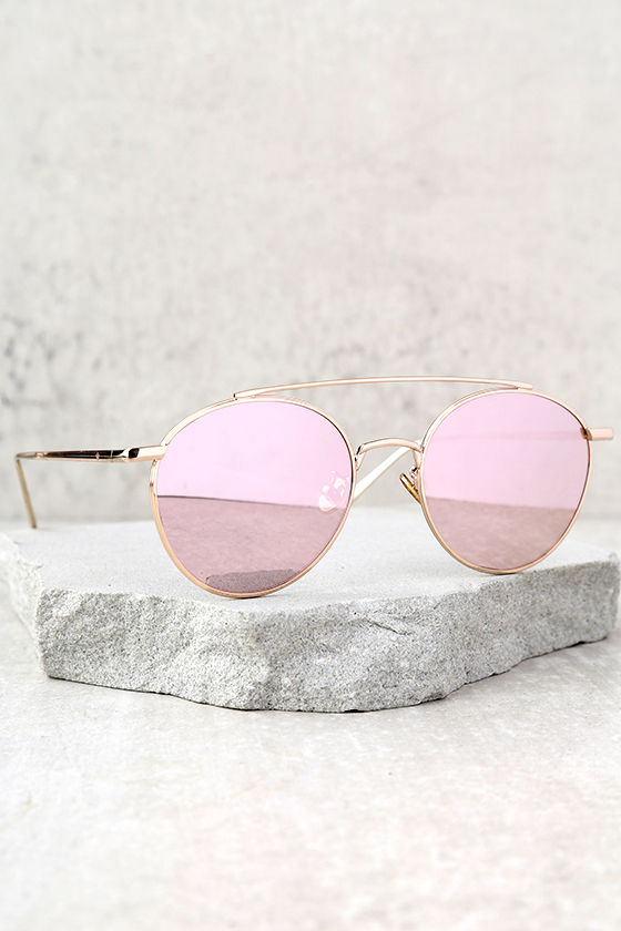 Perverse Elaine Gold and Pink Mirrored Sunglasses 1