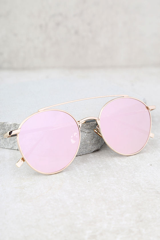 Perverse Elaine Gold and Pink Mirrored Sunglasses 2