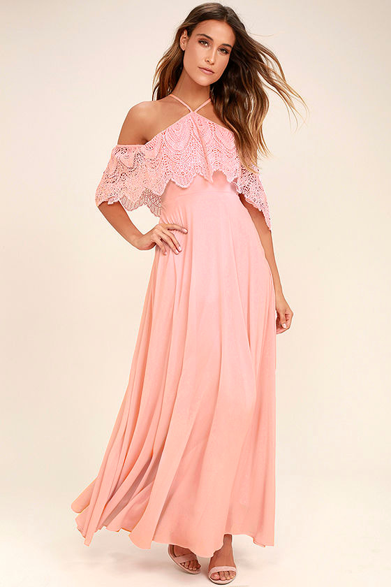 Unmatched Beauty Blush Pink Lace Off The Shoulder Maxi Dress