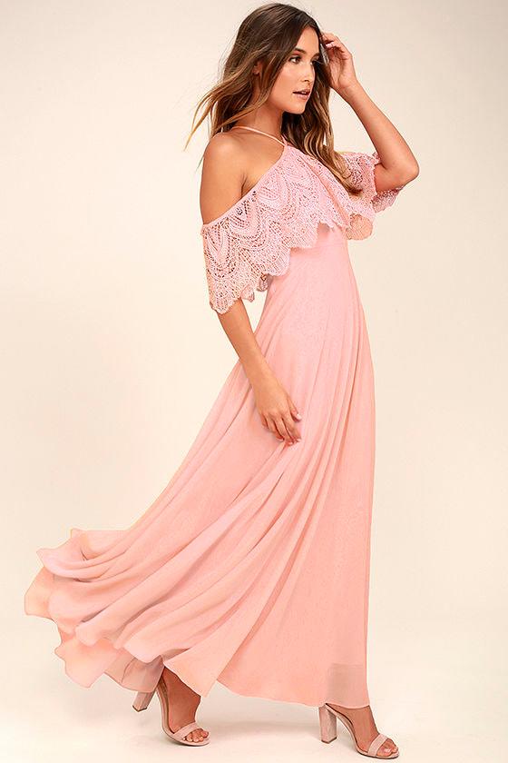 494f6480b9 Lovely Blush Pink Dress - Halter Dress - Maxi Dress - Lace Dress