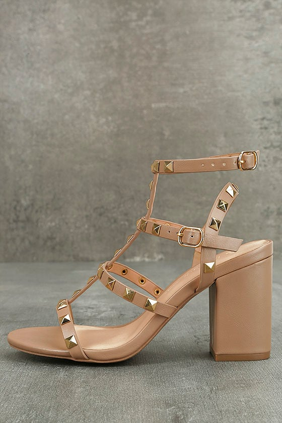 a82b20fa3 Natural Studded Heels - Studded Block Heels - Ankle Strap Heels