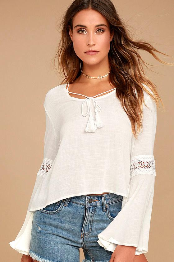 Run Wild White Lace Long Sleeve Top 1
