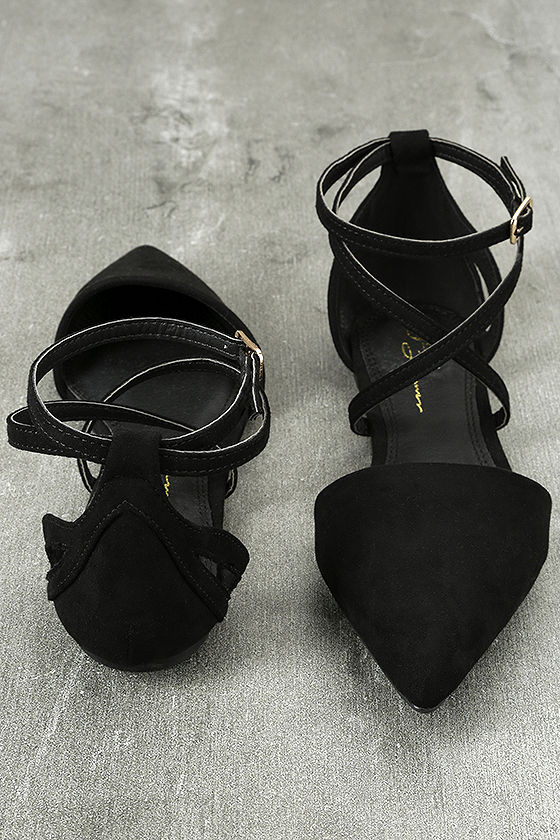 Rayna Black Suede Pointed Flats 3