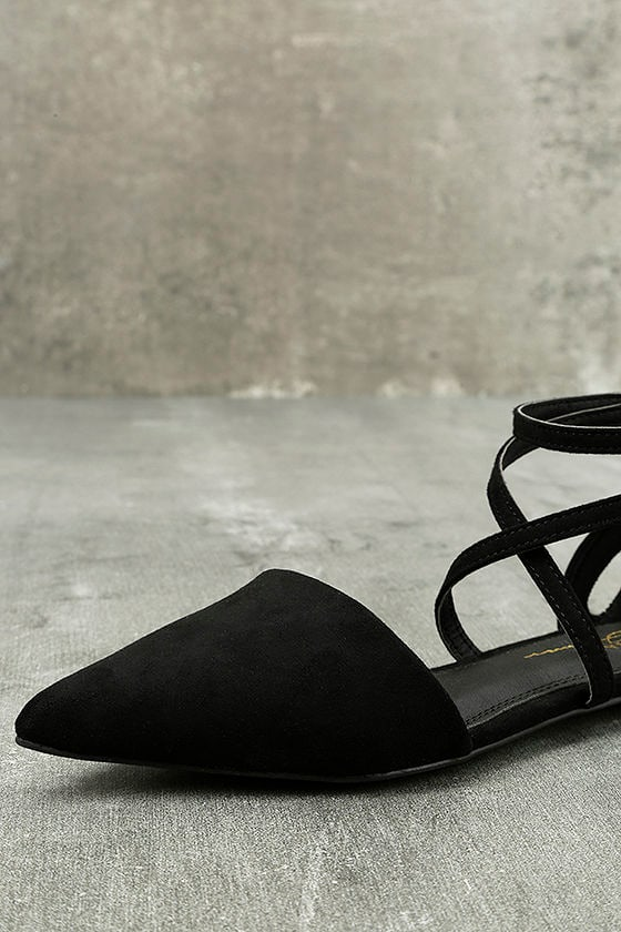 Rayna Black Suede Pointed Flats 6