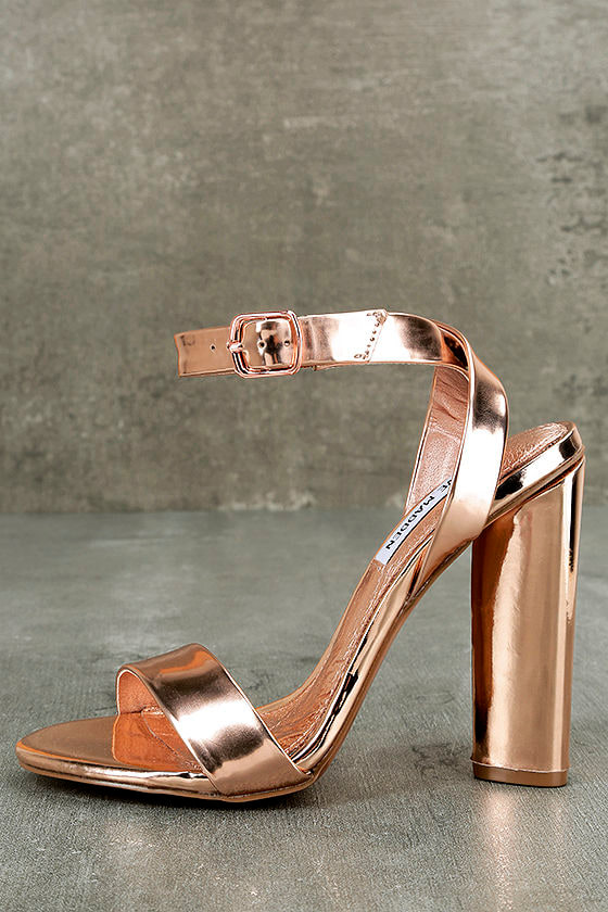 Steve Madden Treasure Rose Gold Leather Ankle Strap Heels 2