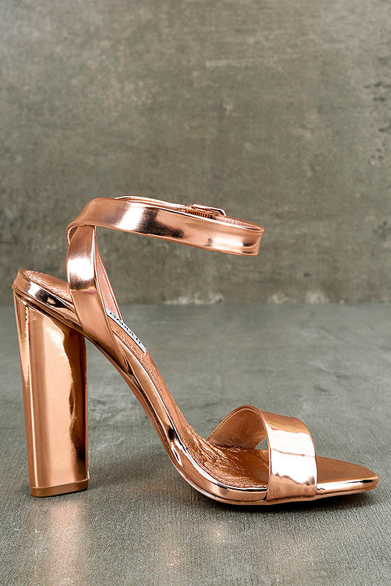 Steve Madden Treasure Rose Gold Leather Ankle Strap Heels 4