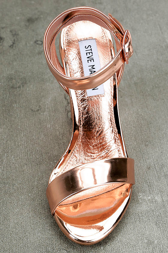 Steve Madden Treasure Rose Gold Leather Ankle Strap Heels 5