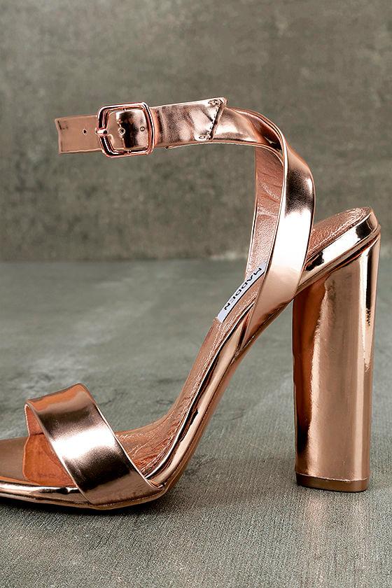 Steve Madden Treasure Rose Gold Leather Ankle Strap Heels 7