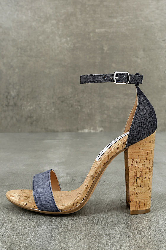 624b25ad61a0 Steve Madden Carson C Denim - Cork Ankle Strap Heels - Blue Ankle ...