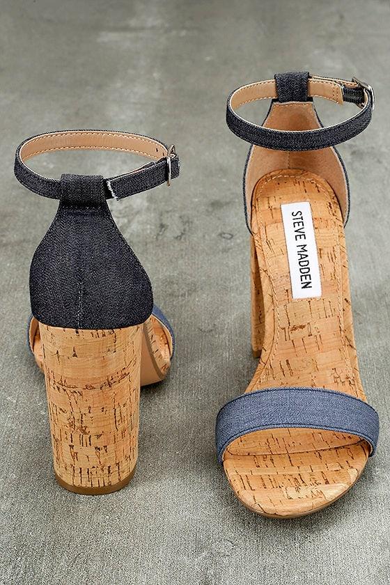 Steve Madden Carson C Denim Cork Ankle Strap Heels 4