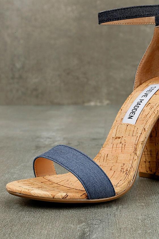 Steve Madden Carson C Denim Cork Ankle Strap Heels 7