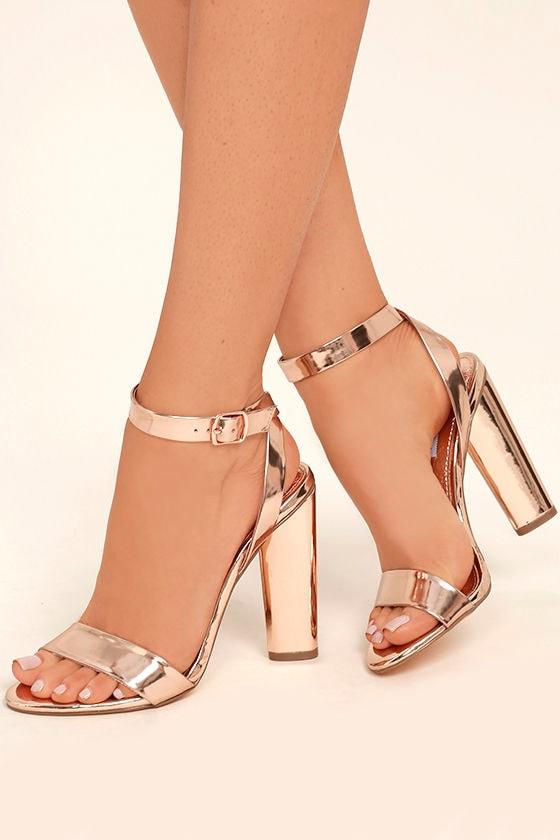 Steve Madden Treasure Rose Gold Leather Ankle Strap Heels 1