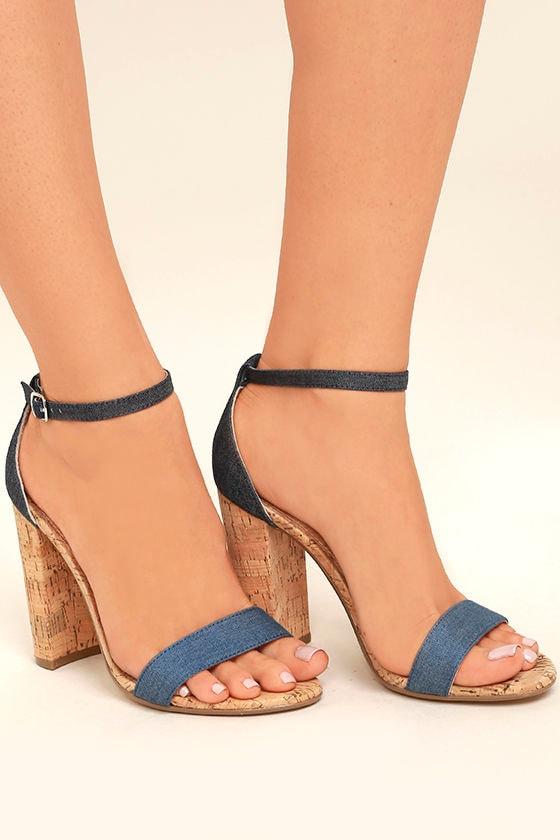 Steve Madden Carson C Denim Cork Ankle Strap Heels 3