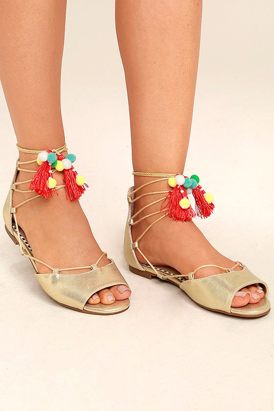Betsey Johnson Abree Gold Lace-Up Pompom Sandals 1