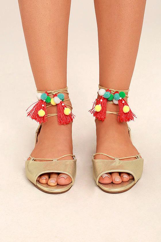 0019e0e59c5 Betsey Johnson Abree Gold - Lace-Up Sandals - Pompom Sandals - Gold ...