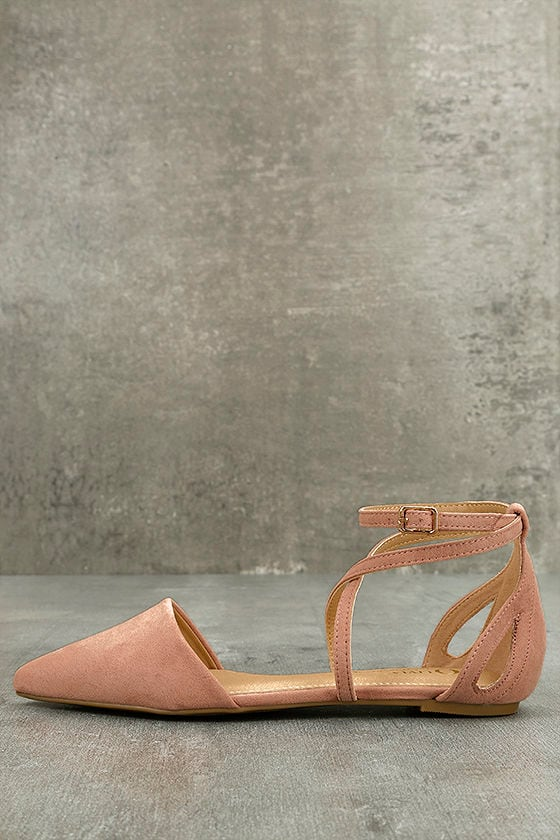 Rayna Blush Suede Pointed Flats 2