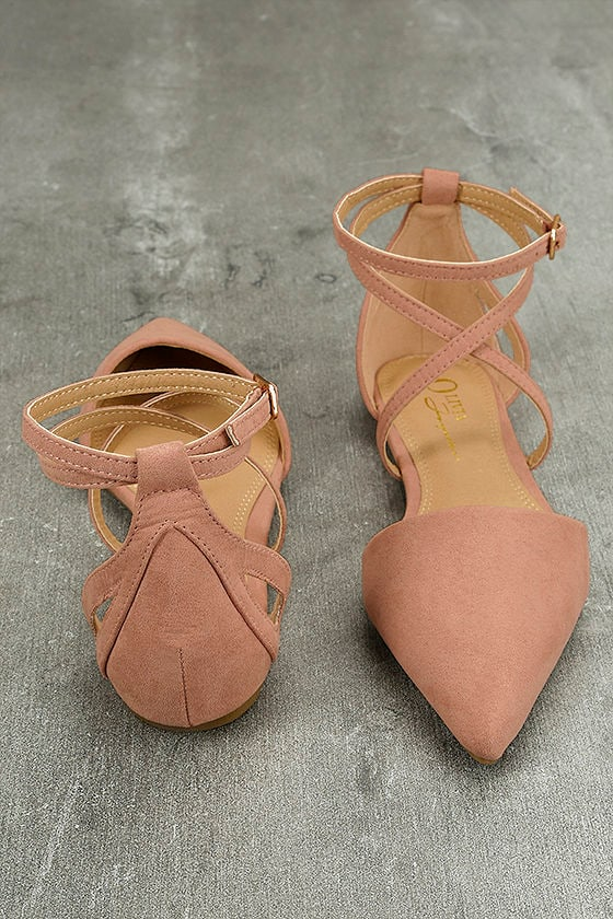 Rayna Blush Suede Pointed Flats 3