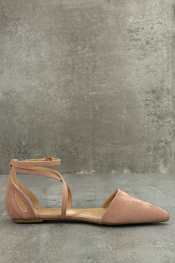Rayna Blush Suede Pointed Flats 4