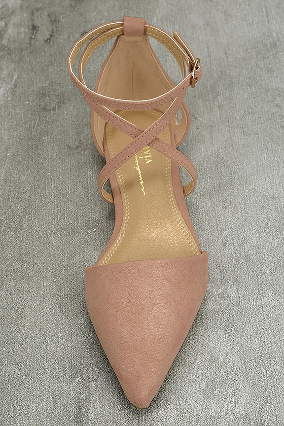 Rayna Blush Suede Pointed Flats 5