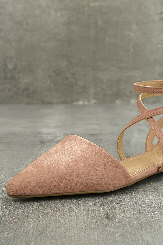 Rayna Blush Suede Pointed Flats 6