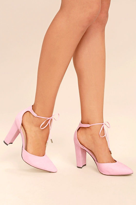 Chic Dusty Rose Heels - Lace-Up Heels