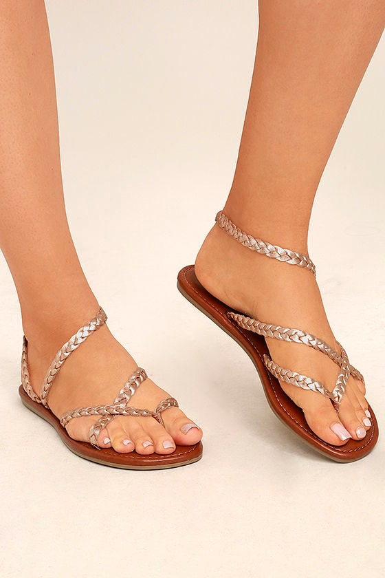 Mia Braid Rose Gold Leather Thong Sandals 1