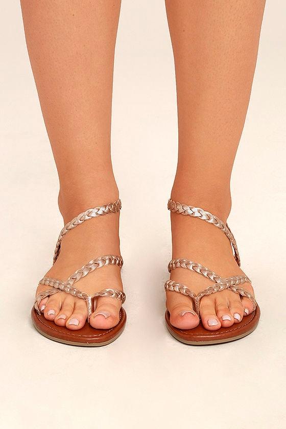 efcb38f7606 Mia Braid Sandals - Rose Gold Sandals - Leather Thong Sandals -  49.00