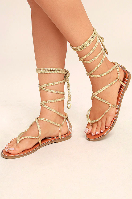 Madden Girl Juliie Gold Lace Up Sandals Leg Wrap